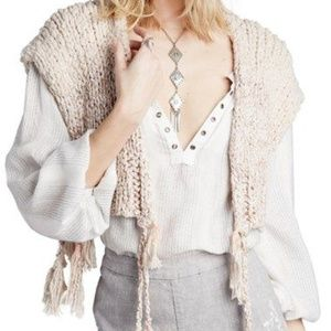 FREE PEOPLE | Tassels Away Shrug Sweater size SM